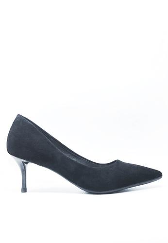 Twenty Eight Shoes 黑色 6.5CM尖頭絨面高踭鞋 208-1 AA56CSH5C7400BGS_1