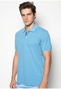 Men's Polo Pique with Embossed Tiiping on Collar Contrast Direct Oar Embro