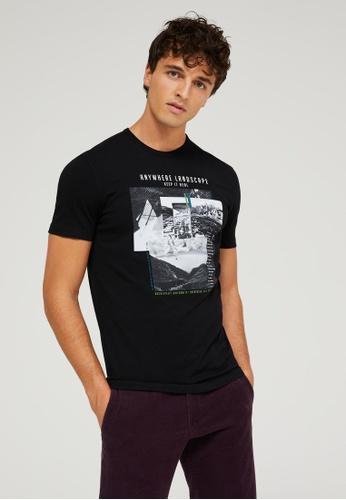 Sisley black Printed T-shirt 342BBAA59A56CAGS_1