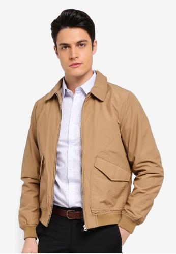 Burton Menswear London beige Stone Cotton Jersey Harrington Jacket 7467AAAC1C0ACAGS_1