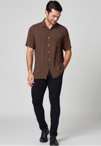 East India Company Suman -Short Sleeve Micro Print Shirt 12582AA578ACBEGS_1