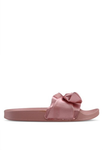Carlton London pink Runched Bow Sliders D813DSHA8B66F1GS_1