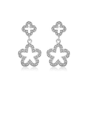 Glamorousky white Elegant Sparkling Flower Earrings with Austrian Element Crystal 400E9ACFE8D65DGS_1