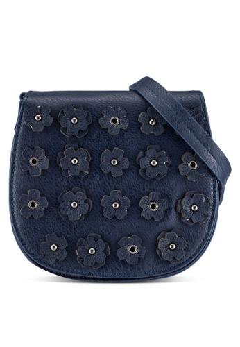 ZALORA navy Flower Detail Sling Bag 36501ZZ623EB6DGS_1