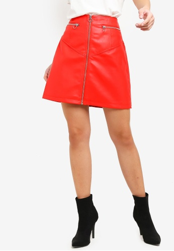 Vero Moda red Siva Connery Faux Leather Skirt 5ECAAAA9D01A19GS_1