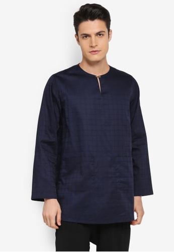 Rizalman for Zalora blue Pallawan Top Baju Melayu RI909AA0SF0GMY_1