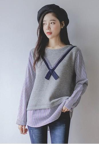 絲帶襯衫拼接小esprit outlet hong kong衫, 服飾, 上衣