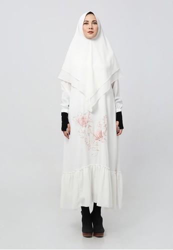 Anggiasari Mawardi white Nadiva Embroidery Dress Syar'i White 84B16AA6B9AFC2GS_1