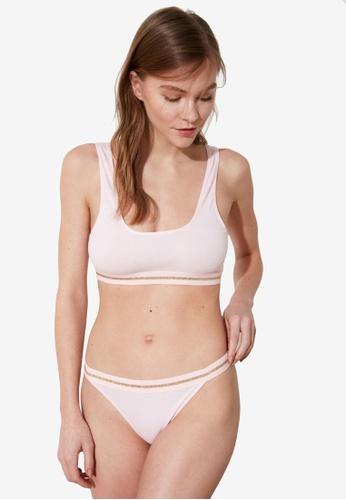 Trendyol pink 2-Piece Stripe Bralette & Thong Set CC517US5C88E92GS_1