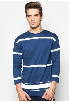 3/4 Printed Stripe Crew
