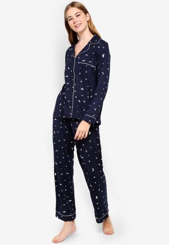 Chelsea Peers blue and navy Star Crescen Pyjama Set 9D229AAEC640B1GS_1