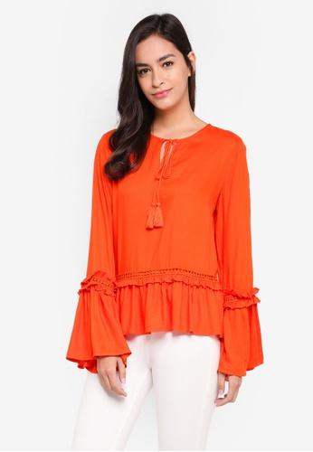 Y.A.S orange Festive Long Sleeve Top 10236AA50EDDE4GS_1
