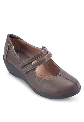 Maryzalora時尚購物網評價 Jane 雙帶杏仁頭楔型鞋, 女鞋, 鞋