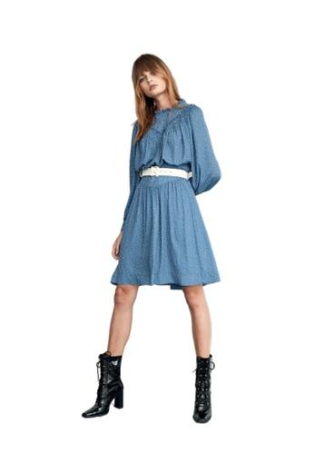 iROO blue Polka Dot Print Dress 81017AA9173D2AGS_1