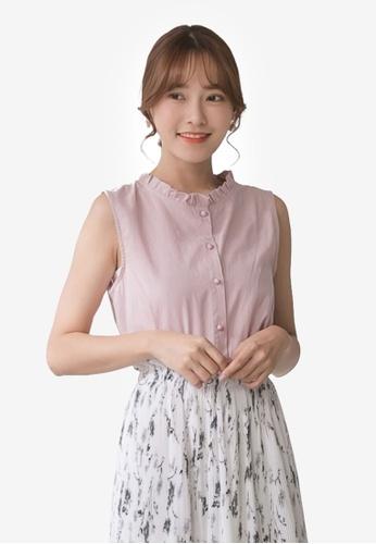 Tokichoi pink Ruffle Neckline Button Front Sleeveless Top A8CC8AA7C0FE77GS_1