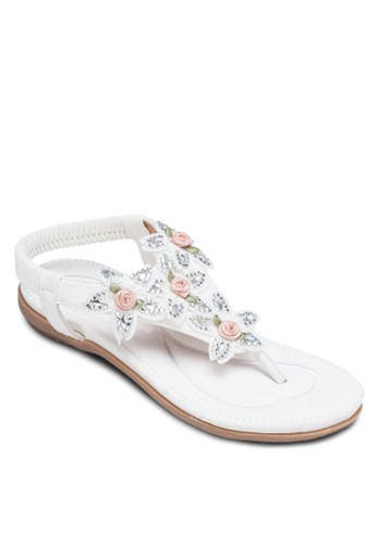 花飾繞踝夾腳涼鞋, 女鞋, 涼zalora 台灣鞋