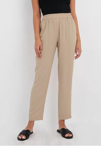 FORCAST brown FORCAST Brea Elasticated Trousers 4F295AAEC15E53GS_1