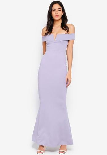fb2984244f7b Shop MISSGUIDED Scuba Bardot V Plunge Maxi Dress Online on ZALORA ...