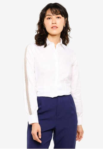 Sacoor Brothers white 100% Cotton Shirt With Inserted Lace At Sleeves E8408AA7CBC015GS_1