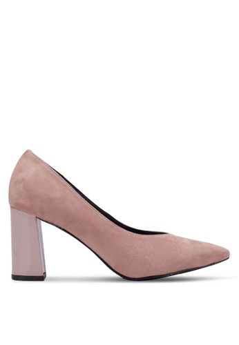 Nose pink and beige Pointed Chunky Heel Pumps NO327SH0RVMGMY_1
