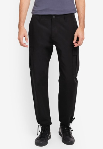 Topman black Black Original Cargo Trousers TO413AA0SR8TMY_1