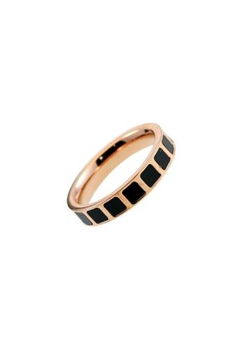 CELOVIS black and gold CELOVIS - Jules Black Ceramic Encrust in Square Tiled Row Ring 94053ACB6F2241GS_1