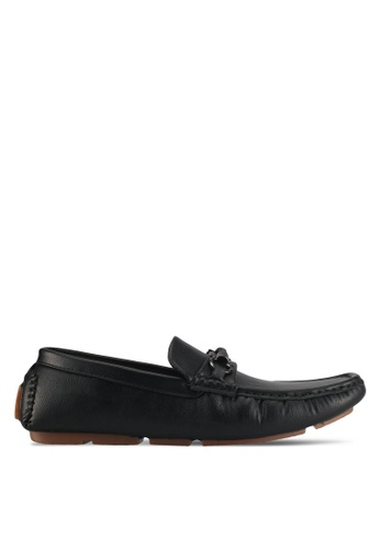 UniqTee black Loafer With Braided Strap Buckle 6A33CSH6E307CDGS_1