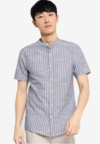 ZALORA BASICS multi SS Stand Collar Linen Blend Shirt 94118AAF40EC27GS_1