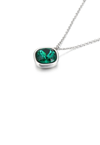 Glamorousky green Simple Personality Geometric Square Green Cubic Zirconia 316L Stainless Steel Pendant with Necklace E91C4AC81CD914GS_1