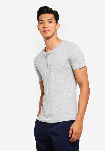 GAP grey Essential Henley T-Shirt 14223AA775050DGS_1