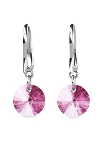 Her Jewellery silver Circlet Hook Earrings (Pink) - Made with premium grade crystals from Austria HE210AC0GJSHSG_1