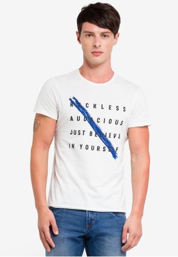 OVS white Raw Cut T-Shirt With Print 53007AAE51D6DCGS_1