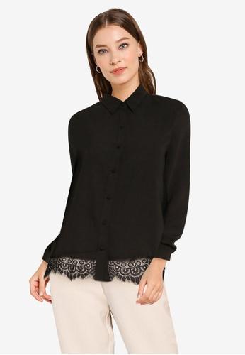 ZALORA WORK black Lace Hem Shirt 50349AAE2F4953GS_1