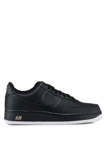 Nike black and white and gold Men's Nike Air Force 1 '07 Shoes C0FBESH1A86654GS_1