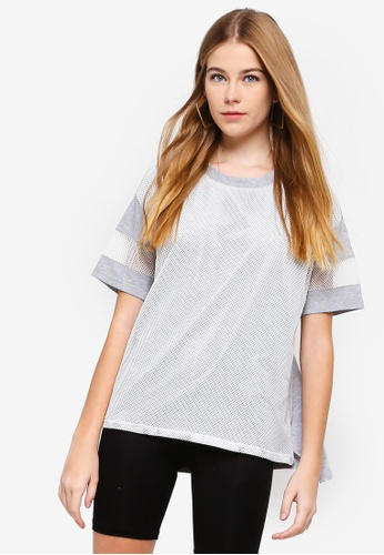 Something Borrowed grey and white Mesh Panel Tee 11DECAA466DA6BGS_1