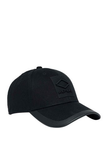 REPLAY black REPLAY SOLID-COLOURED CAP WITH BILL C3327AC977ED1CGS_1