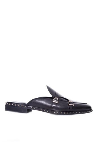 Zeve Shoes black Zeve Shoes Mules - Black Belgian Double Monk Strap with Studded Trim B3A88SH99A81B6GS_1