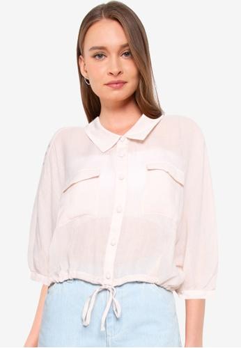 Heather pink Tie Hem Shirt C0385AA282DF0EGS_1
