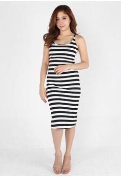 Modern Style Striped Backless Maxi Dress
