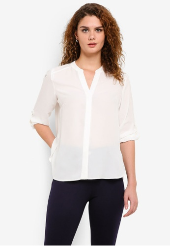 Dorothy Perkins white Ivory Tab Roll Sleeve Blouse DO816AA0RP3UMY_1
