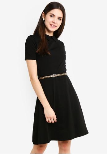 Dorothy Perkins 黑色 Black Collar PU Belt Fit And Flare 6A8DFAA9F5D07DGS_1