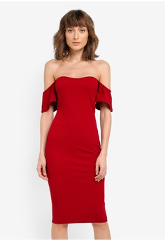 ee464e470c MISSGUIDED red Bardot Bodycon Midi Dress MI511AA0SP6OMY_1