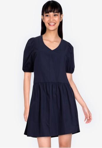 ZALORA BASICS navy V neck Drop Waist Mini Dress 90182AAB7D360EGS_1