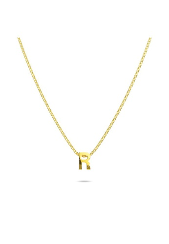 Bullion Gold gold BULLION GOLD Initials Brick Alphabet Letter Necklace Gold Layered Steel Jewellery  - R 2D7C4ACC2E5815GS_1