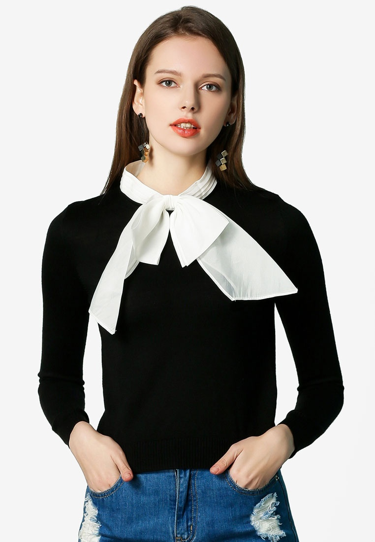 Sleeve Long Sweater Hopeshow Ribbon with Black d4Cw4