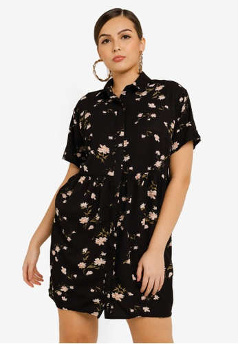 MISSGUIDED black Floral Smocked Shirt Dress A05DCAA86B1DB0GS_1