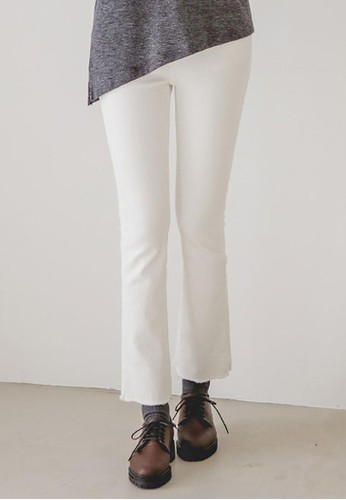 zalora時尚購物網的koumi koumi半高腰微喇長褲, 服飾, 直腳褲
