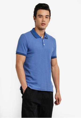 UniqTee 藍色 Contrast Piping POLO 衫 UN097AA0RFV5MY_1