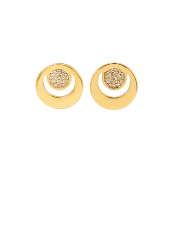 Glamorousky white Fashion and Simple Plated Gold Hollow Geometric Round Stud Earrings with Cubic Zirconia F4700AC9E2CAC8GS_1