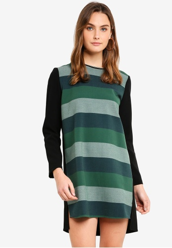 United Colors of Benetton green Striped Slit Hem Dress 78370AA5B5C16AGS_1